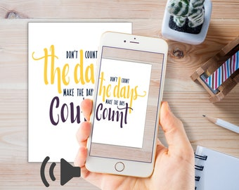 Talking Quotes, use an app to hear and see the quote come to life and talk to you. Female voice + motivating music.| Instant download