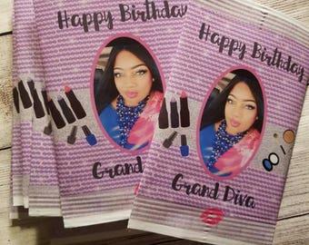 Makeup Artist Beauty chip bag / treat / party / Bridal shower / Birthday / Bachelorette / Engagement / Lipstick favor bag