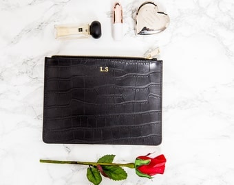 Personalised Leather Black Croc Bridesmaids Pouch, Customised Croc Leather Make up bag, Bag insert-Monogrammed Womens Clutch Bag handbags