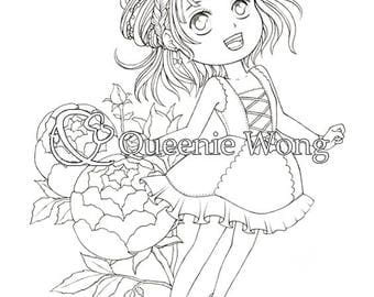 Printable coloring pages, instant download, a set of 4 coloring pages, Cute Girls with Flowers, CP01