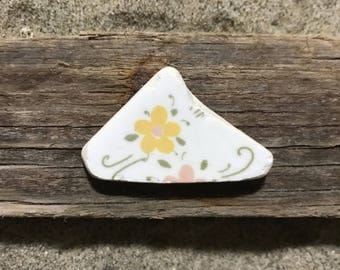 Sea Pottery Piece * Floral Beach Pottery Shard * Sea Ceramics * Tiles Ceramic with Flower * Pastel Colored Sea Pottery from Sicily * Italian