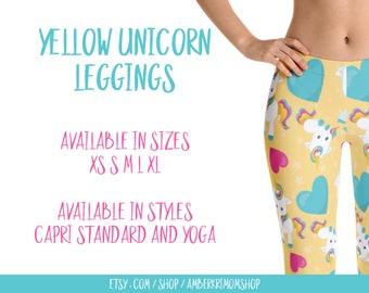 Leggings, Woman's Printed Leggings, Cute Leggings, Unicorn Leggings, Yellow Unicorn Leggings, Yellow Unicorn Capri Leggings