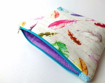 Feathers cosmetic bag, makeup zipper pouch, gift for woman, feathers cotton fabric, pencil pouch, cute makeup bag