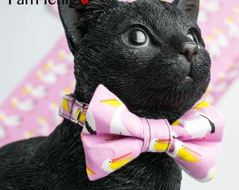 Pelican printed pink bowtie / collar for cats