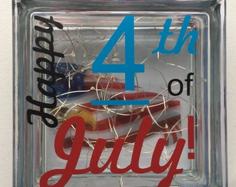Glass BLOCK 4th of July