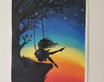Girl on a swing soft pastel drawing