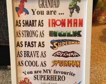 Grandad/Daddy personalised Superhero frame