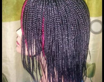 Short braided wig with human hair centre closure