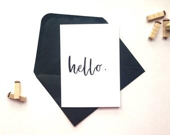 Handwritten watercolour 'hello' greeting card