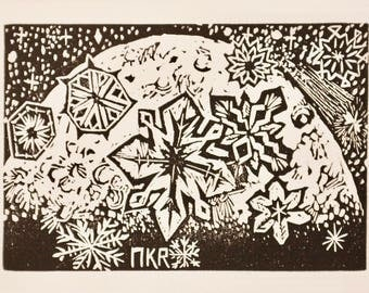 Snowflakes In Moonlight Handmade Linocut Well Wishing Holiday Greeting Card