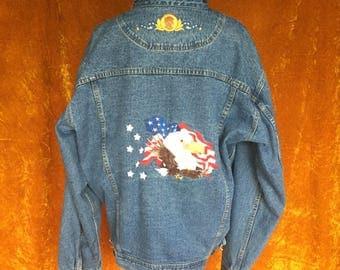 Vintage 1990s Men's Patriotic Embroidered Eagle Jean Denim Jacket