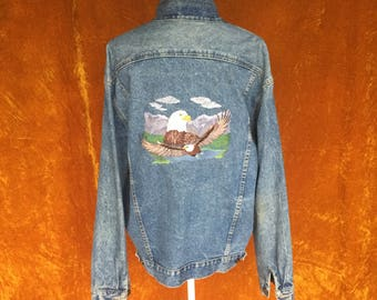 Vintage 1990s Men's Guess Patriotic Embroidered Eagle Jean Denim Jacket
