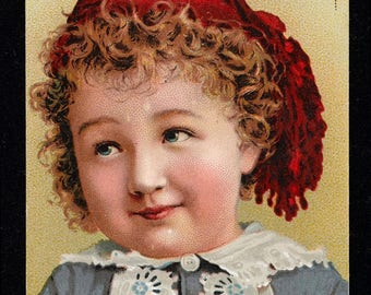 Digital Download Vintage Advertsing Card Public Domain Young Girl w/Red Hat