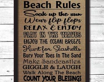 beach rules, beach sign, beach house decor, beach wall art, beach art print, beach burlap sign, beach rules decoration, beach house gift, B7