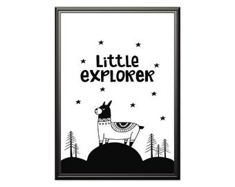 Little Explorer, Scandinavian print, Nursery Scandinavian, Black and white, monochrome nursery, playroom print, kids poster, kids room art