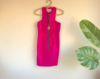 Hot Ponk Silk 90's Zipper Dress by Linda Segal Size 4