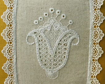 Floral Folk Style Embroidered Pillow 11x11""