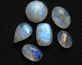 Lot ! AAA Rainbow Moonstone Gemstone Top Quality handmade Cabochons 100%Natural Beautiful Rainbow Moonstone Loose stone 62.00cts, 6 Pieces.