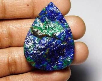 Rare Collection Of Very Rare & Gorgeous Azurite Malachite Druzy Very Top Quality Cabochon,Natural Loose Gemstone 112.80Cts.(43x32x7)mm