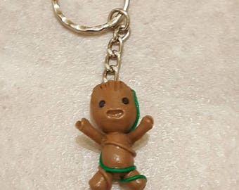 Polymer clay groot key chains.