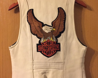 XS - Small Vintage White Leather Vest with Harley-Davidson Patch