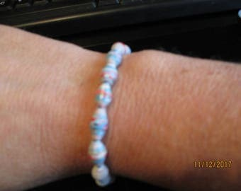 Pink and blue paper Bead Bracelet