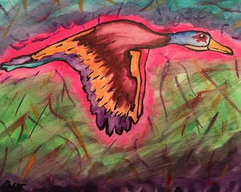 """Colorful duck in flight painting 8""""x10"""""""