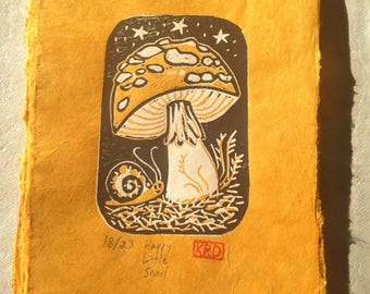 Happy Little Snail Linocut Reduction Blockprint