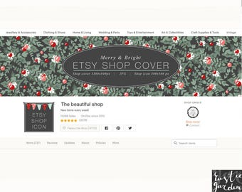Decorative Etsy Shop banner, icon. Christmas patterned cover with holly leaves and ball ornaments on chalkboard black background. DIY kit.