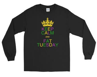 keep calm and Fat Tuesday New Orleans Funny T-Shirt Long Sleeve T-Shirt