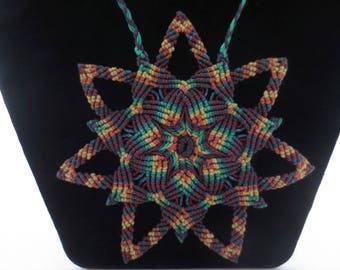 Macrame mandala necklace Boho Hippie Washable