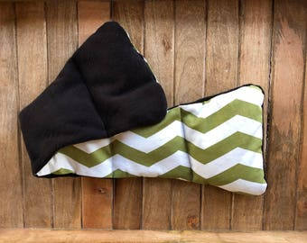 Handmade Neck Warmer Clove Scented - Green Cream Chevron Pattern - Microwavable - Rice Filled