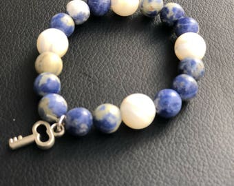 Blue white bracelet
