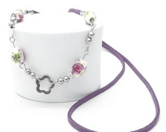 Long Necklace, Floral Ceramic Beads, Stainless Steel Beads and Jump Rings, Pins, Faux Suede Cord, Flower Pendant, Best Selling Items