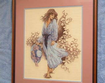"""Needlepoint Gril with Hat Framed Matted (24"""" x 20"""")"""