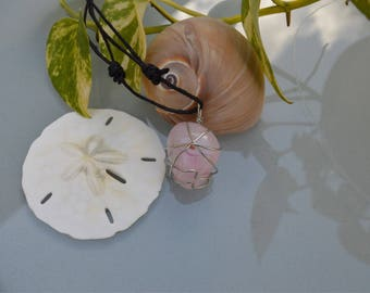 Silver Wire Wrapped Rose Quartz Necklace