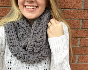 Solid gray infinity scarf