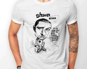 Shaun Ryder quotes Lazyitis Caricature on 100% Cotton T Shirt.