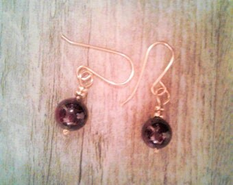 Birthstone for January Garnet and 14k gold filled beads and wire