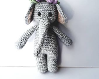Elephant with rattle, rattle toy