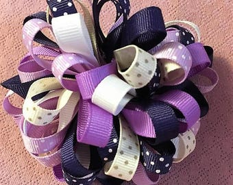 Loopy Pom Pom Bow, Purple Hair Bow, Polka Dot Bows, Fancy Bow, Girls Hair Bows, Boutique bow, Girls hair bows, Purple Loopy Puff Bow, Pompom