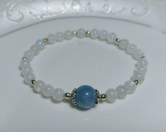 Clear Moonlit Night Moonstone/Aquamarine Bracelet