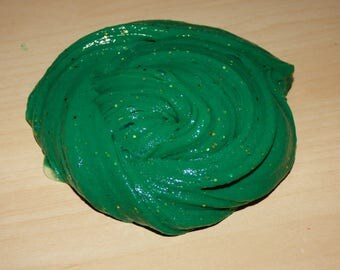 Pine Scented Dark Green Slime with a Little Bit of Gold Glitter