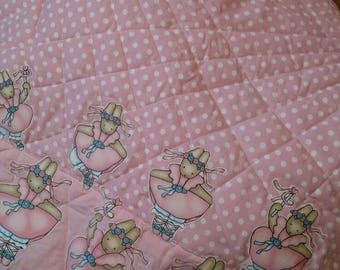 Pink and polkadot ballerina baby quilt.
