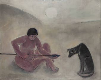 Man with Spear and Dog
