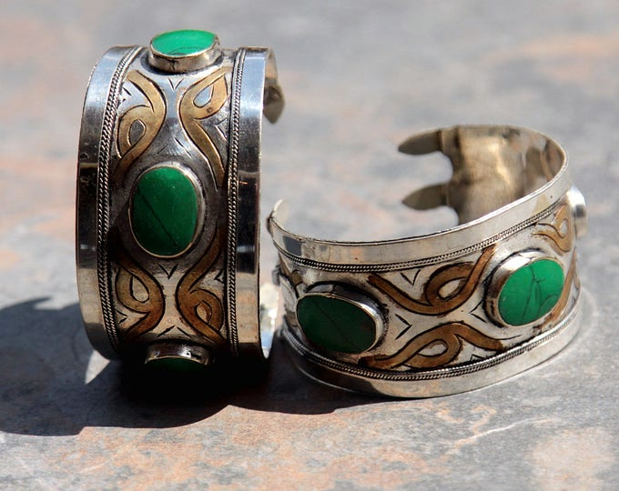 BRACELET Pair (2pcs) Turkoman Tribal Real MALACHITE Gold Plated BellyDance 501a11