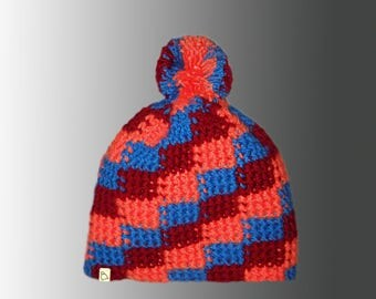 Handmade Custom Chequered Pattern Crochet Bobble Hat Bespoke Warm Winter Pompom Hat