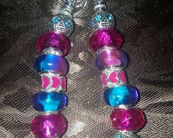 Fuschia Blue Charm Bracelet