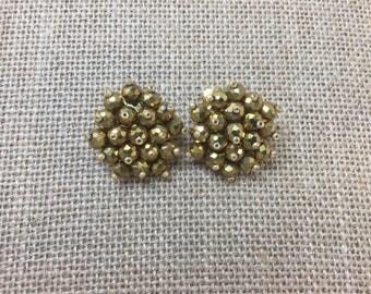 Vintage Cluster Clip-on Earrings, Bronze Crystal and Beads Vintage Earrings