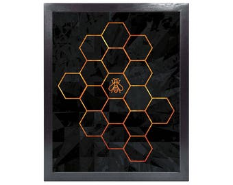 Bee in Honeycomb (Printable Science Art - Geometric - Instant Digital Download)